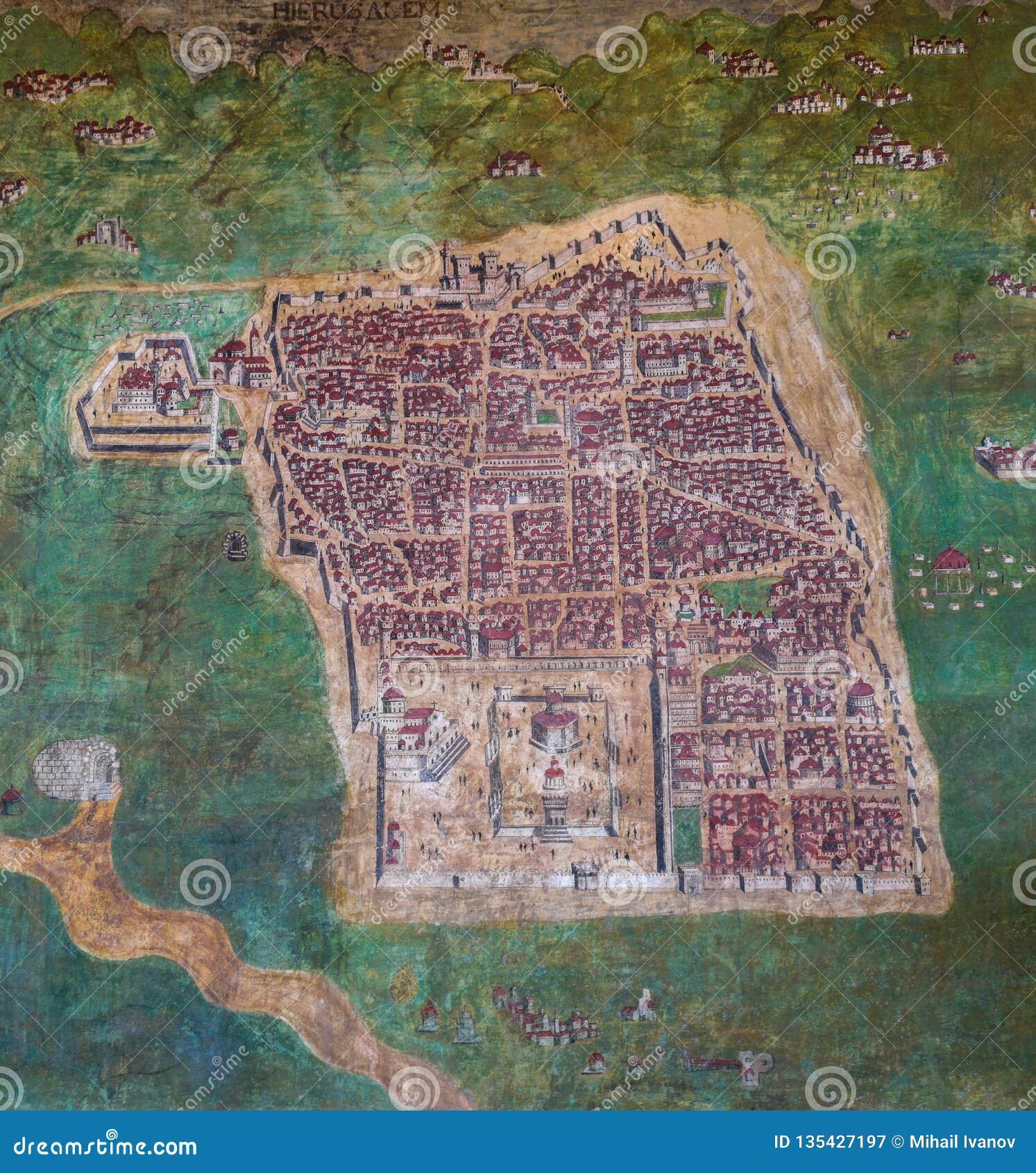 Alte Karte von Jerusalem, Israel