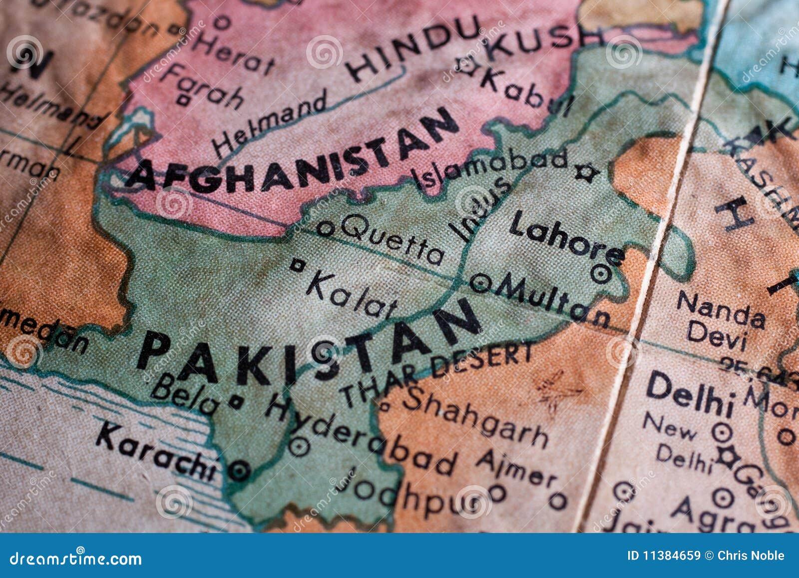 Alte Karte von Pakistan und von Afganistan