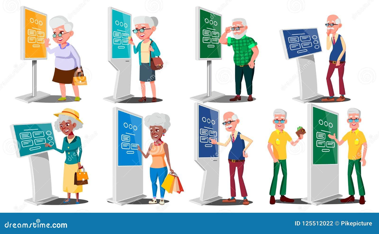 Alte Leute, die ATM, Digital-Terminalvektor verwenden Mann, Frau set Lcd-digitale Beschilderung für die Innenanwendung interaktiv