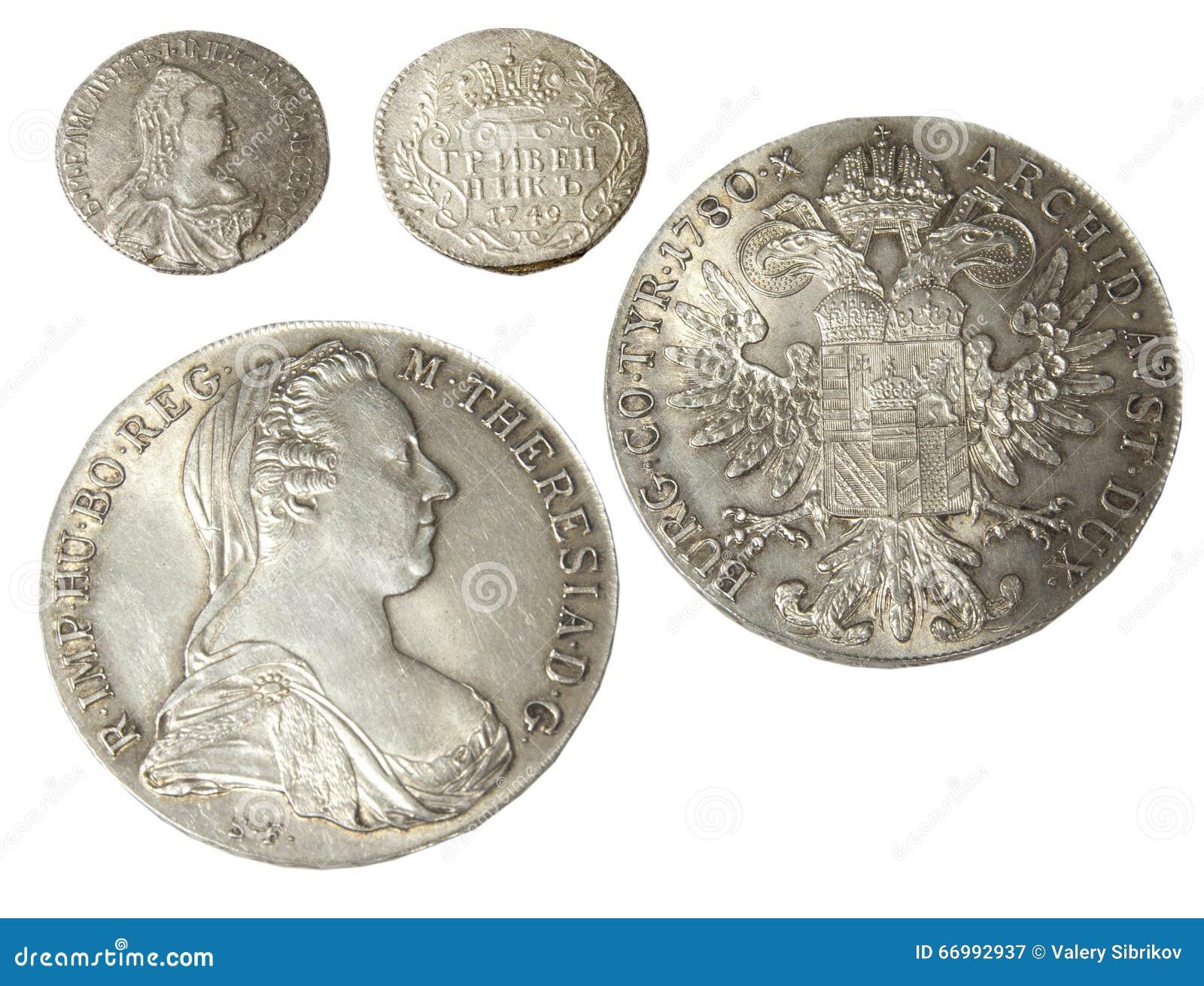 Alte Münzen Von Verschiedenen Metallen Stockbild Bild Von Prägung