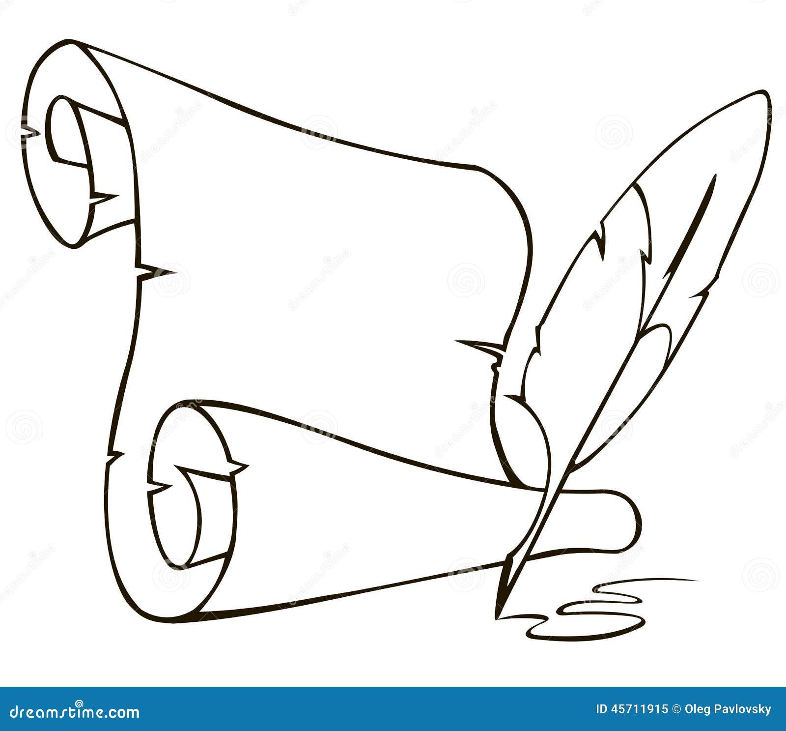 alte papierrolle und feder vektor abbildung bild 45711915. Black Bedroom Furniture Sets. Home Design Ideas