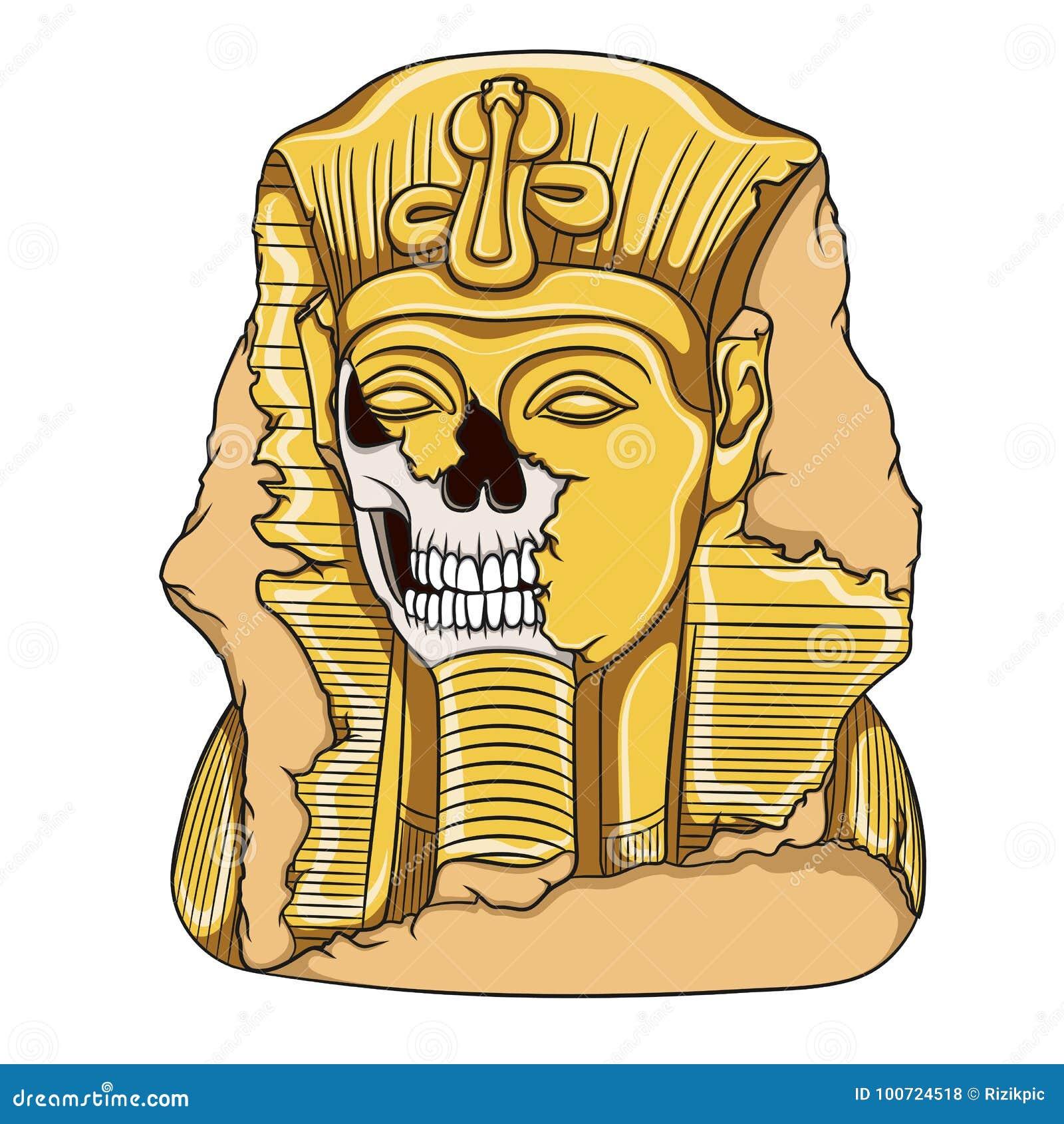 Alte Pharaostatue eines Schädels Mädchenlesezeitschrift auf dem sandigen Strand