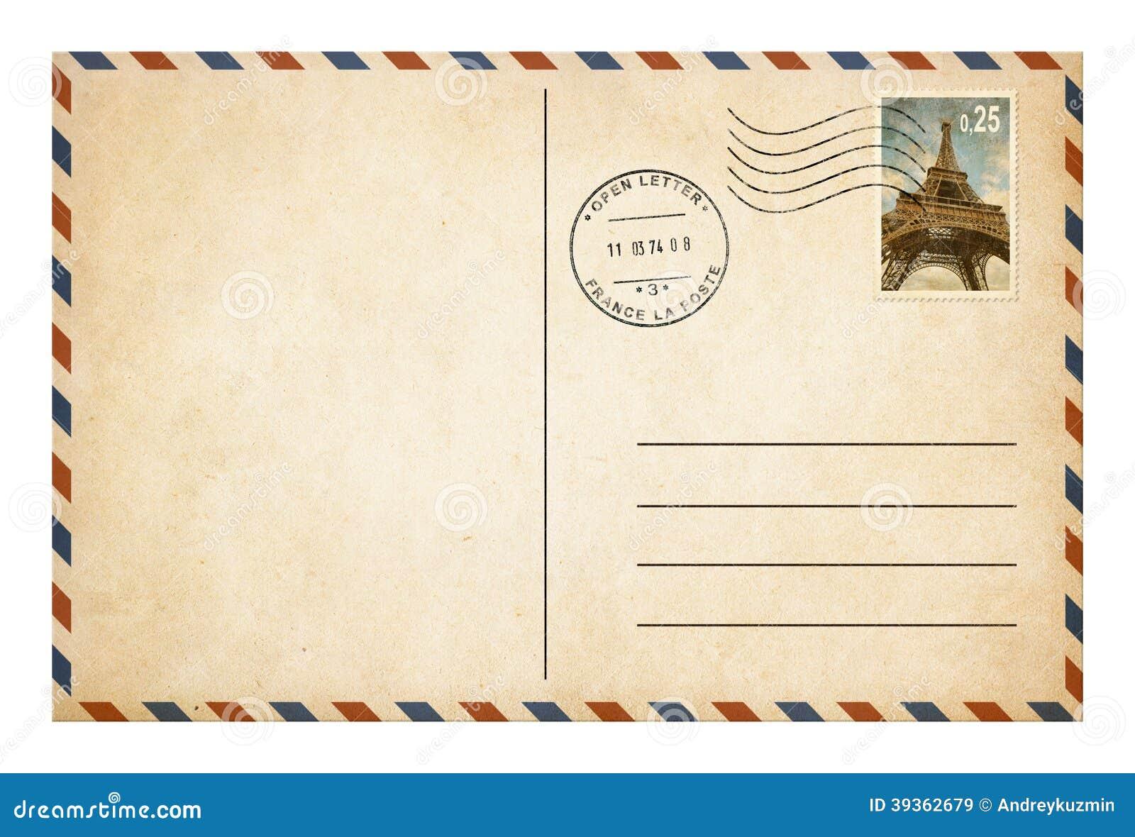 Alte Postkarte oder Umschlag mit Briefmarke isolat