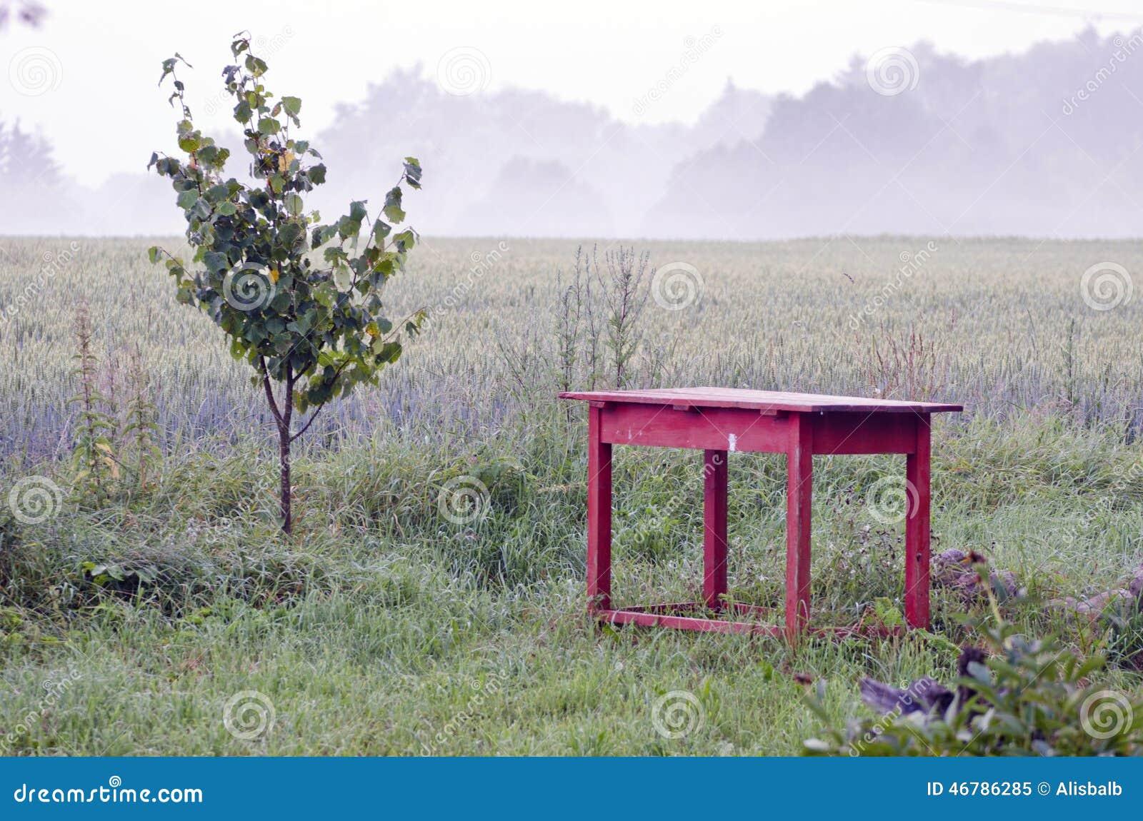 Alte rote tabelle und morgennebel im bauernhof arbeiten im for Garten arbeiten