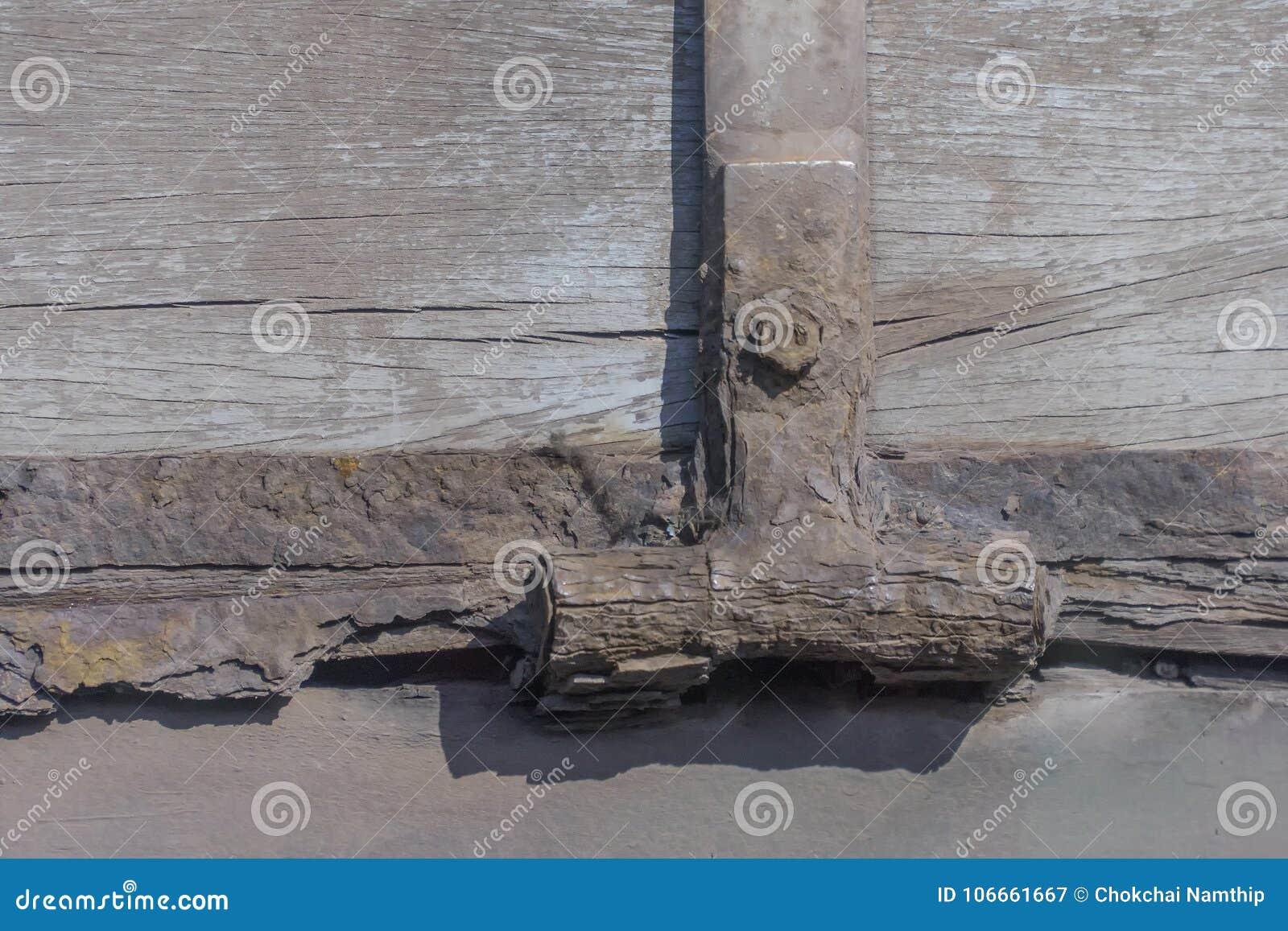alte scharniere verrosten und nuss auf altem holz stockbild - bild