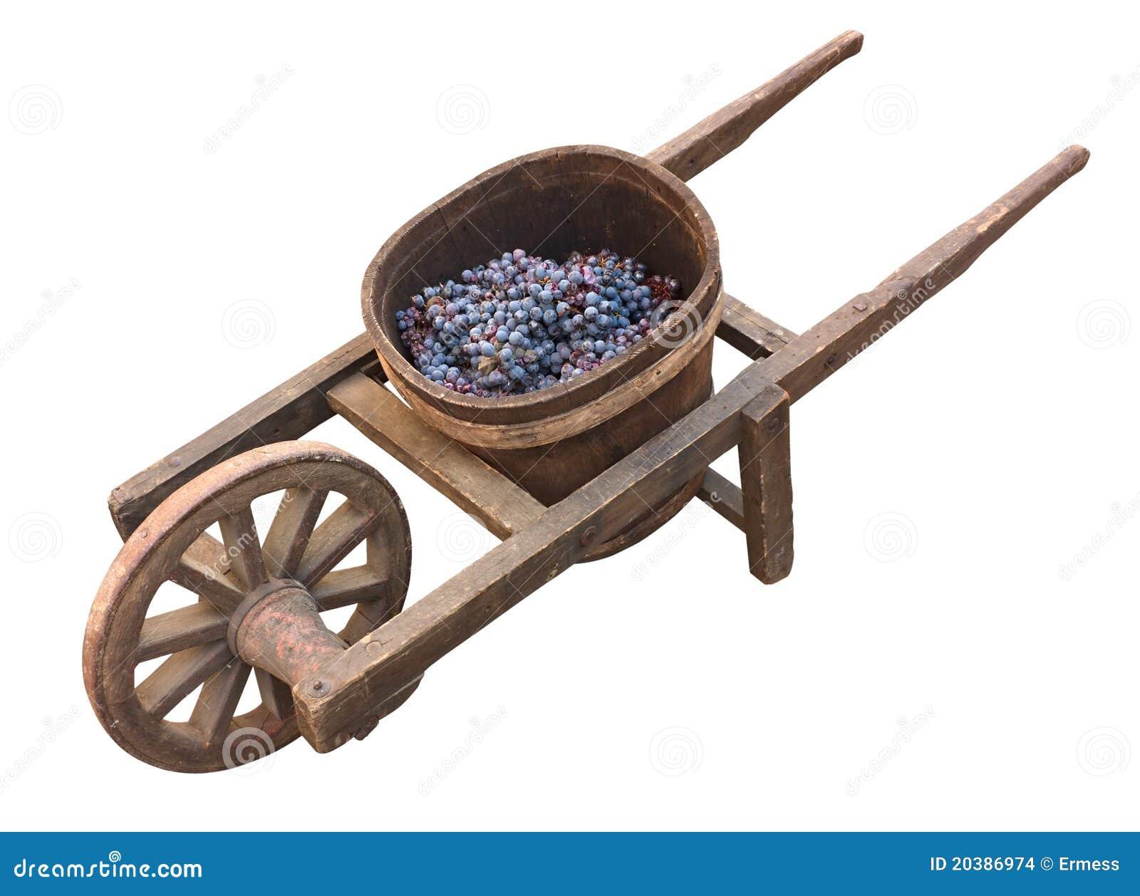 Alte Schubkarre für Traubentransport