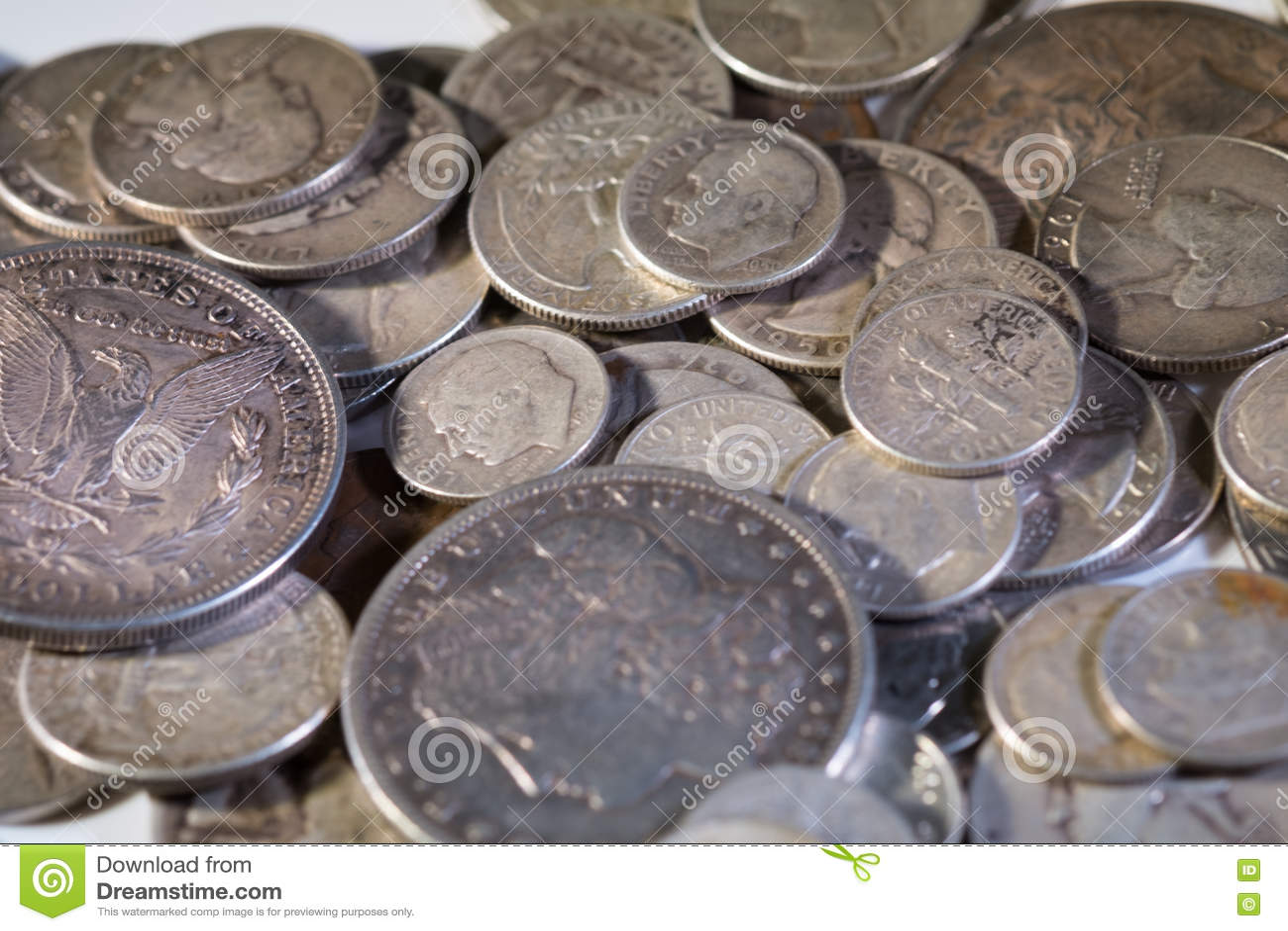 Alte Silberne Amerikanische Münzen Stockfoto Bild Von Wertvoll