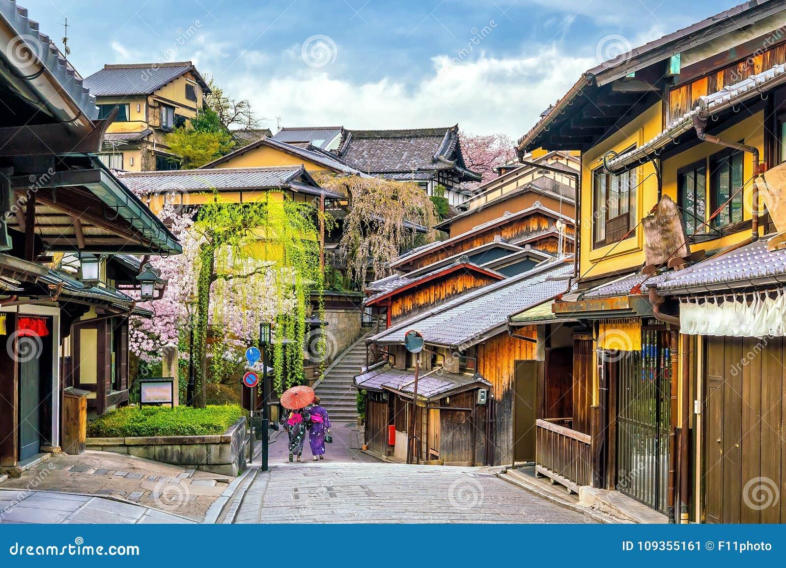 Alte Stadt Kyoto, der Higashiyama Bezirk während Kirschblüte-Jahreszeit