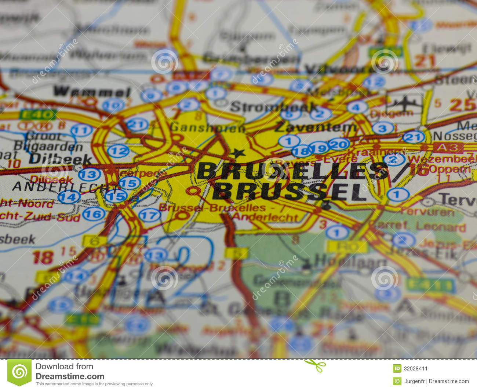 Alte Straßenkarte Brüssels