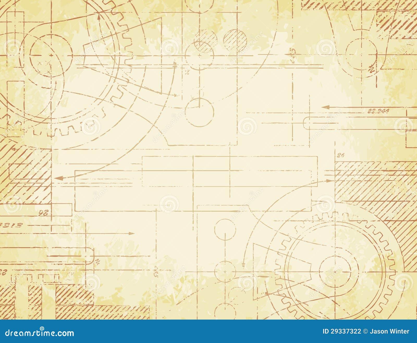 Holz HaustUr Technische Zeichnung ~ Grungy alte technische Lichtpausenabbildung auf verblaßtem