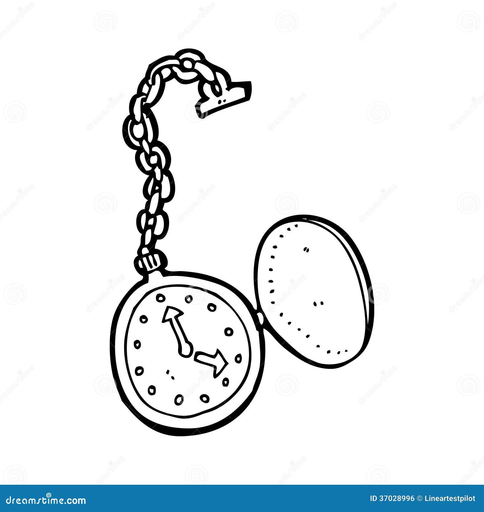 Taschenuhr gezeichnet  Alte Taschenuhr Der Karikatur Lizenzfreie Stockbilder - Bild: 37018059