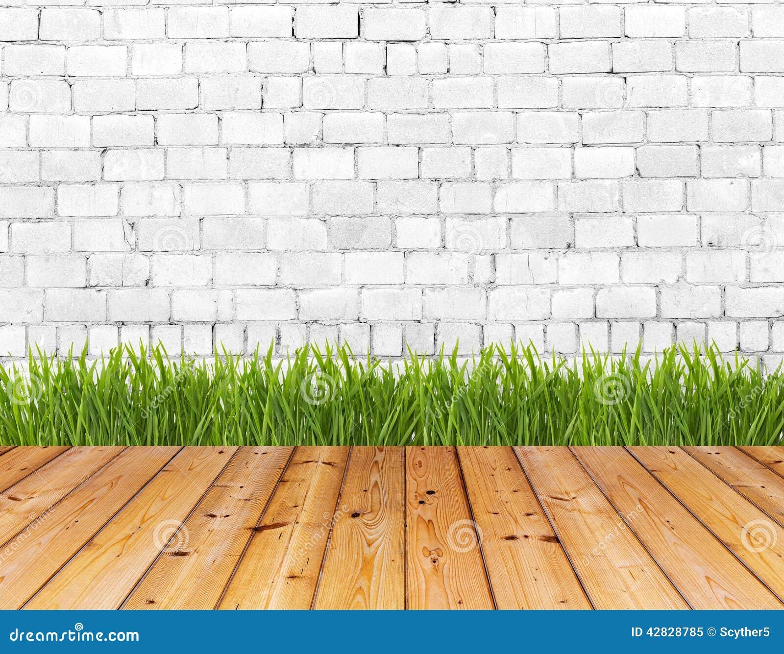 Alte Wand Und Grunes Gras Auf Holzfussboden Stockbild Bild Von Gras