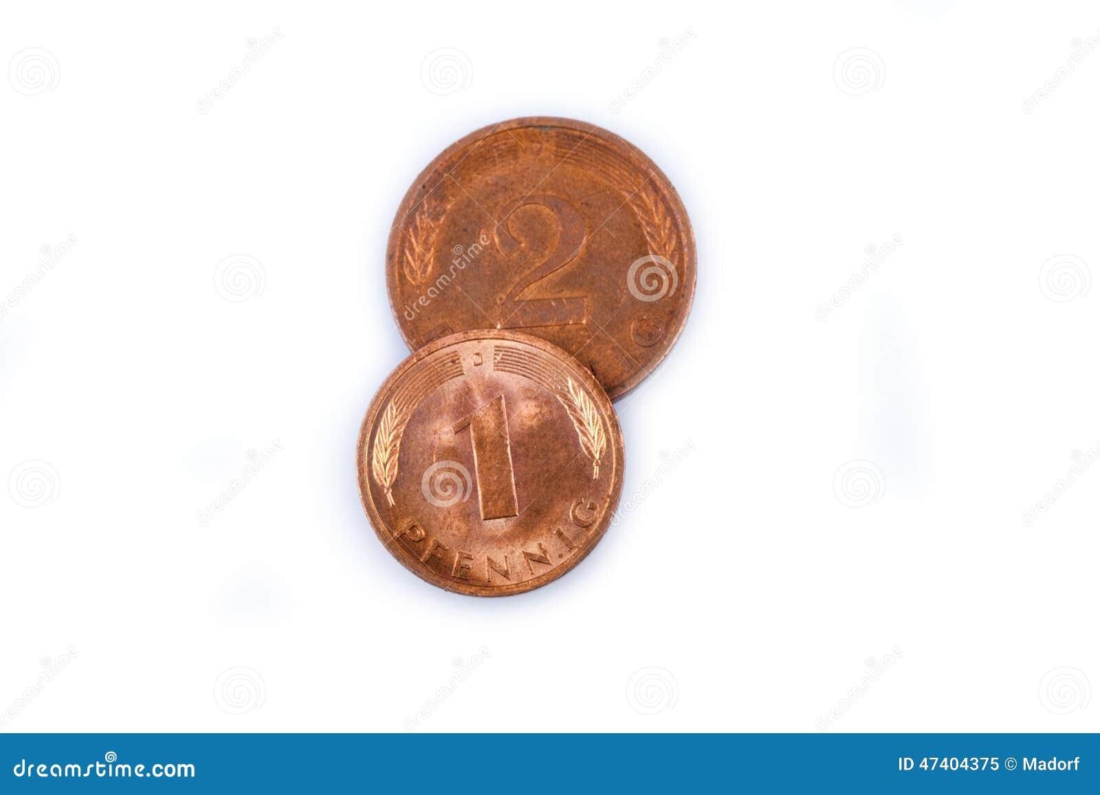 Alte Westdeutsche Münzen Gemacht Vom Kupfer Stockbild Bild Von