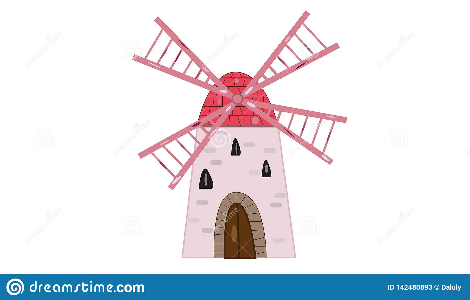 Alte Windmühlenillustration lokalisierte weißen Hintergrund und nette rosa Flügel- und Steintür