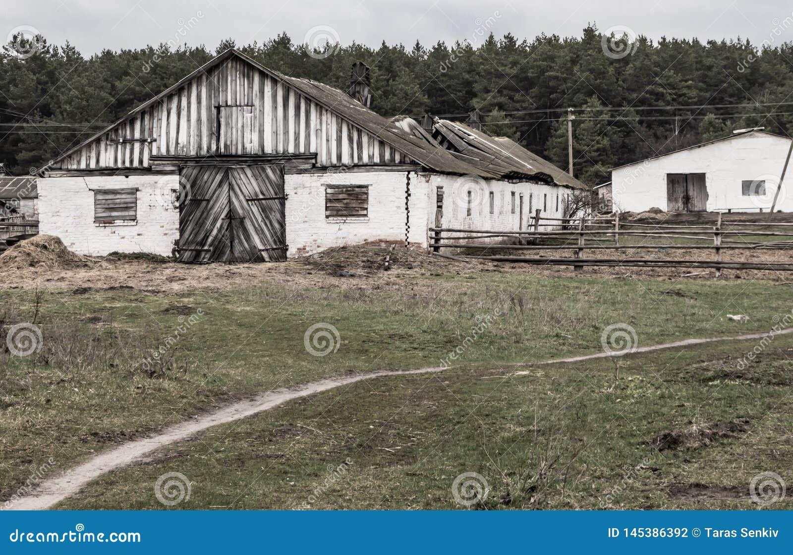 Alter Bauernhof, verlassener Schutz für Viehbestand