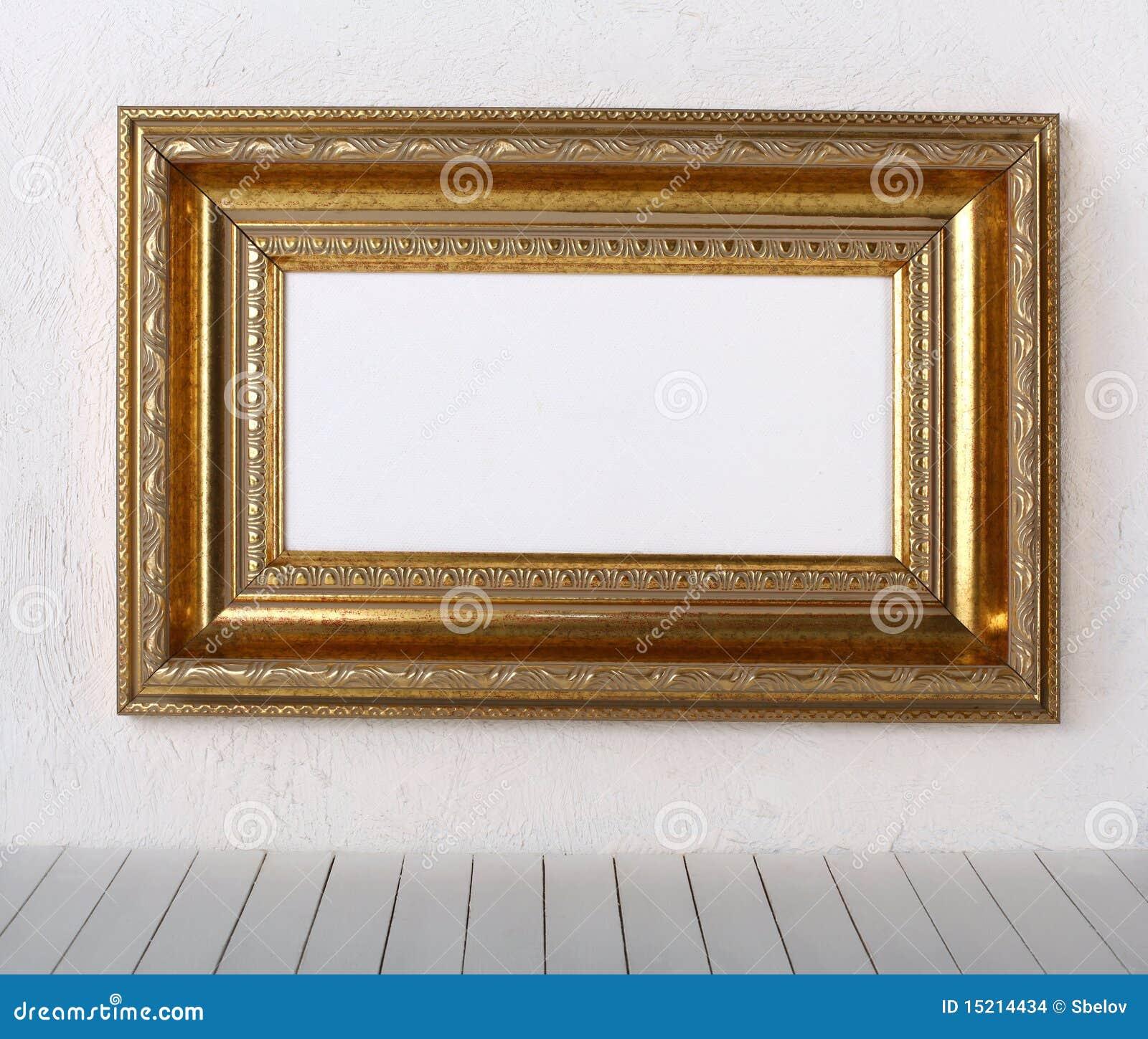 Alter Bilderrahmen Auf Einer Wand Stockfoto - Bild von gold, raum ...