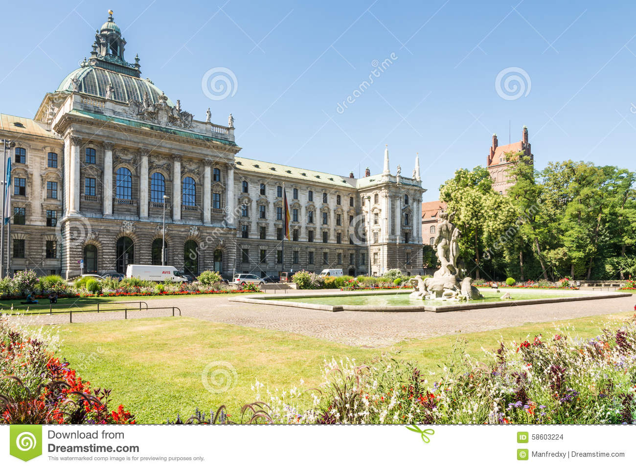 alter botanischer garten and palace of justice in munich editorial stock image image 58603224. Black Bedroom Furniture Sets. Home Design Ideas
