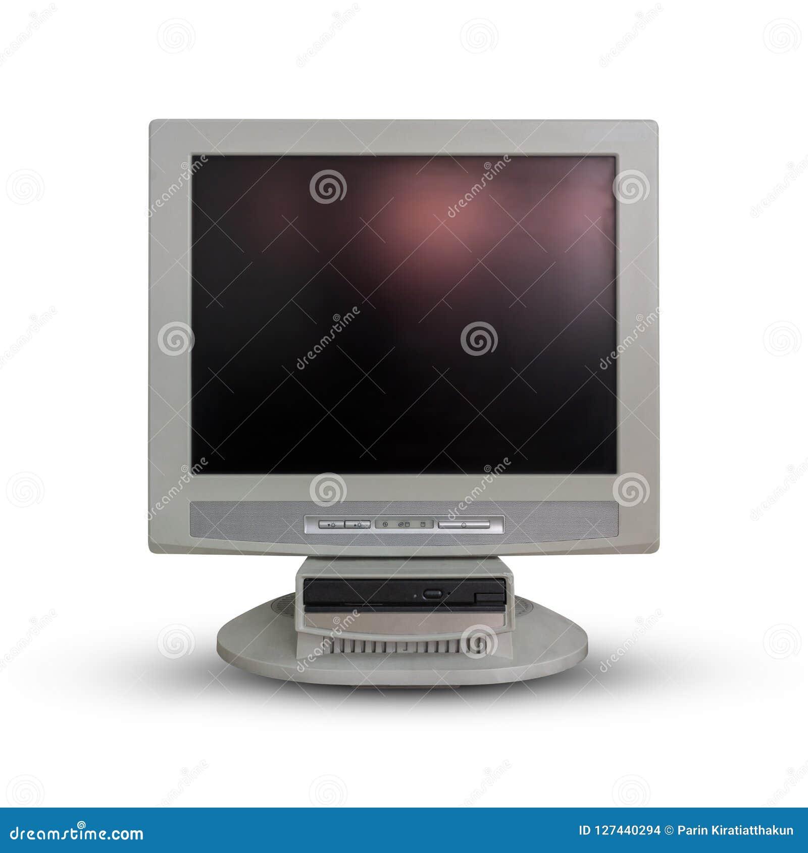 Alter Computermonitor auf Weiß
