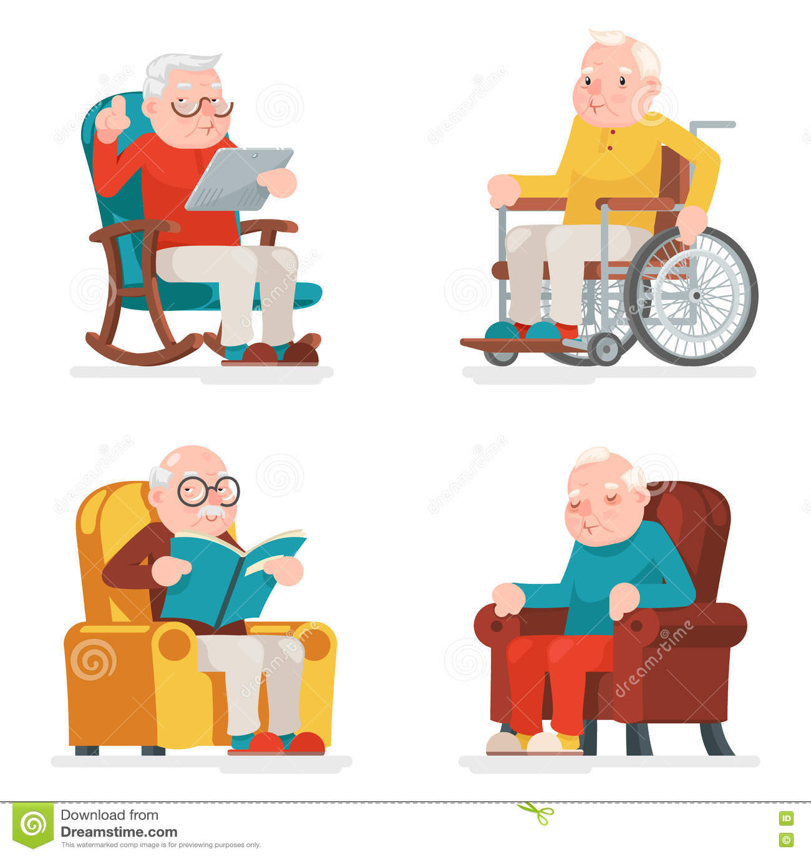 Alter Mann-Charakter-Sit Sleep Web Surfing Read-Lehnsessel-Rollstuhl-erwachsene Ikonen eingestellte Karikatur-Design-Vektor-Illus