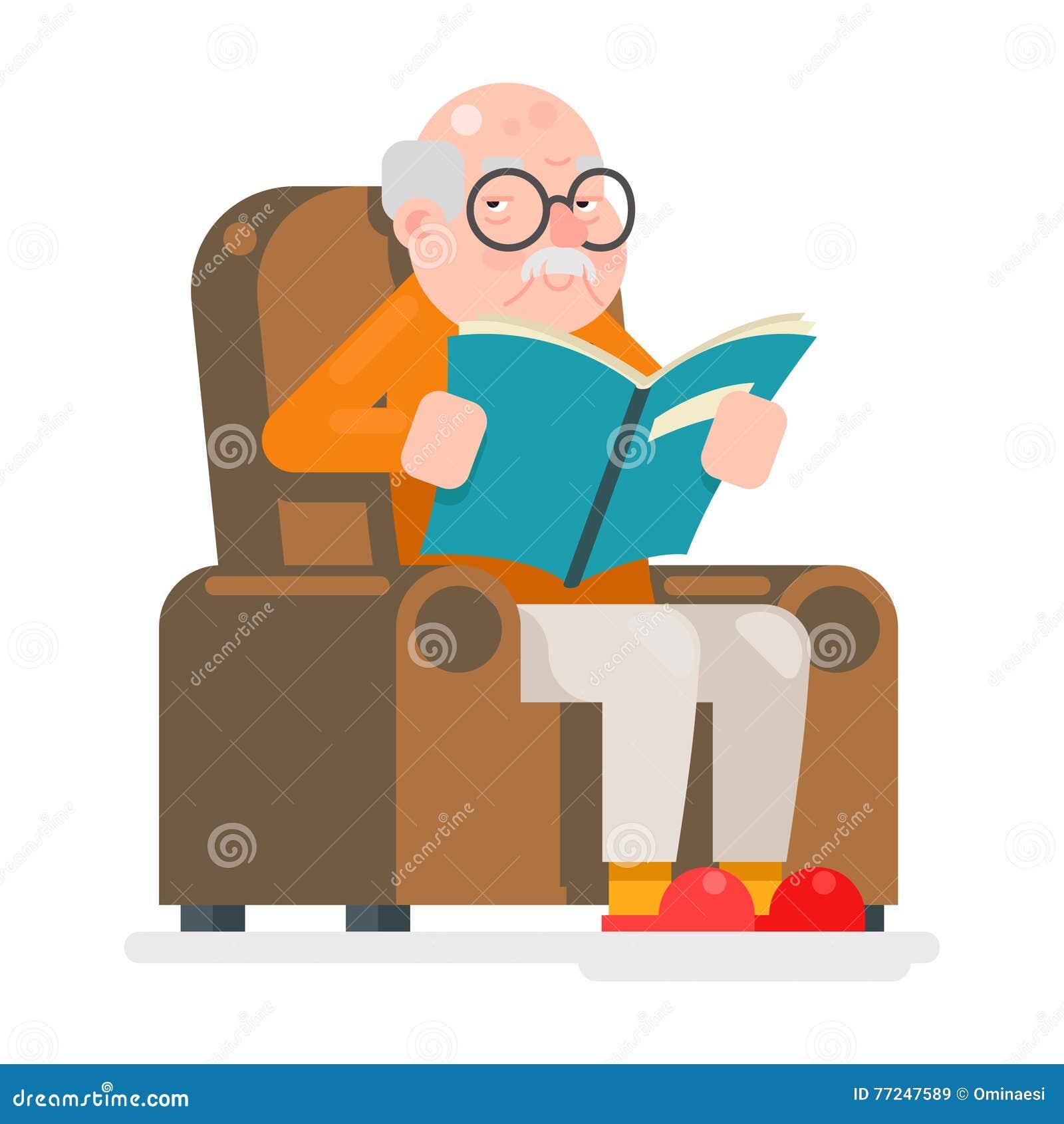 Alter Mann-Charaktere lasen Buch-Sit Chair Adult Icon Flat-Design-Vektor-Illustration