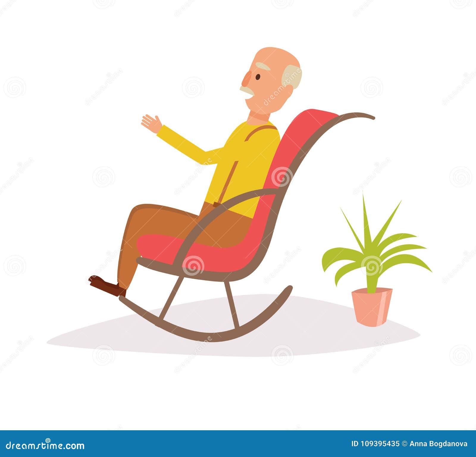 Der karikatur mann schaukelstuhl vektor stock fotos for Alter mann im schaukelstuhl