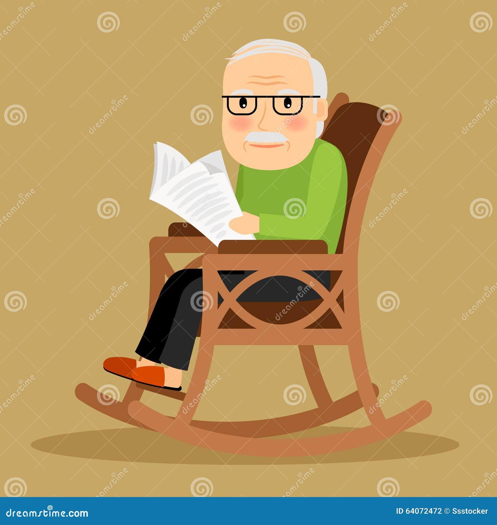 Alter mann der im schaukelstuhl und in der zeitung sitzt for Alter mann im schaukelstuhl