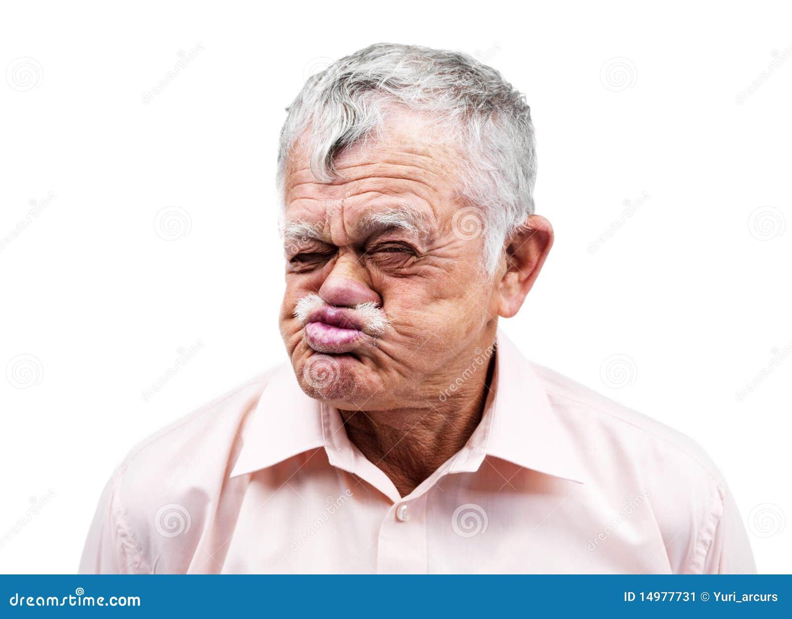 stockbild old man making funny face on white background bild 14977731. Black Bedroom Furniture Sets. Home Design Ideas