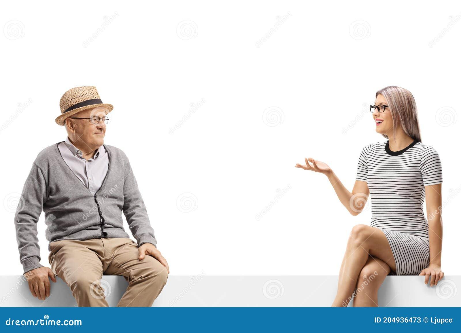 Alter Mann Und Eine Junge Frau Auf Einer Blindplatte