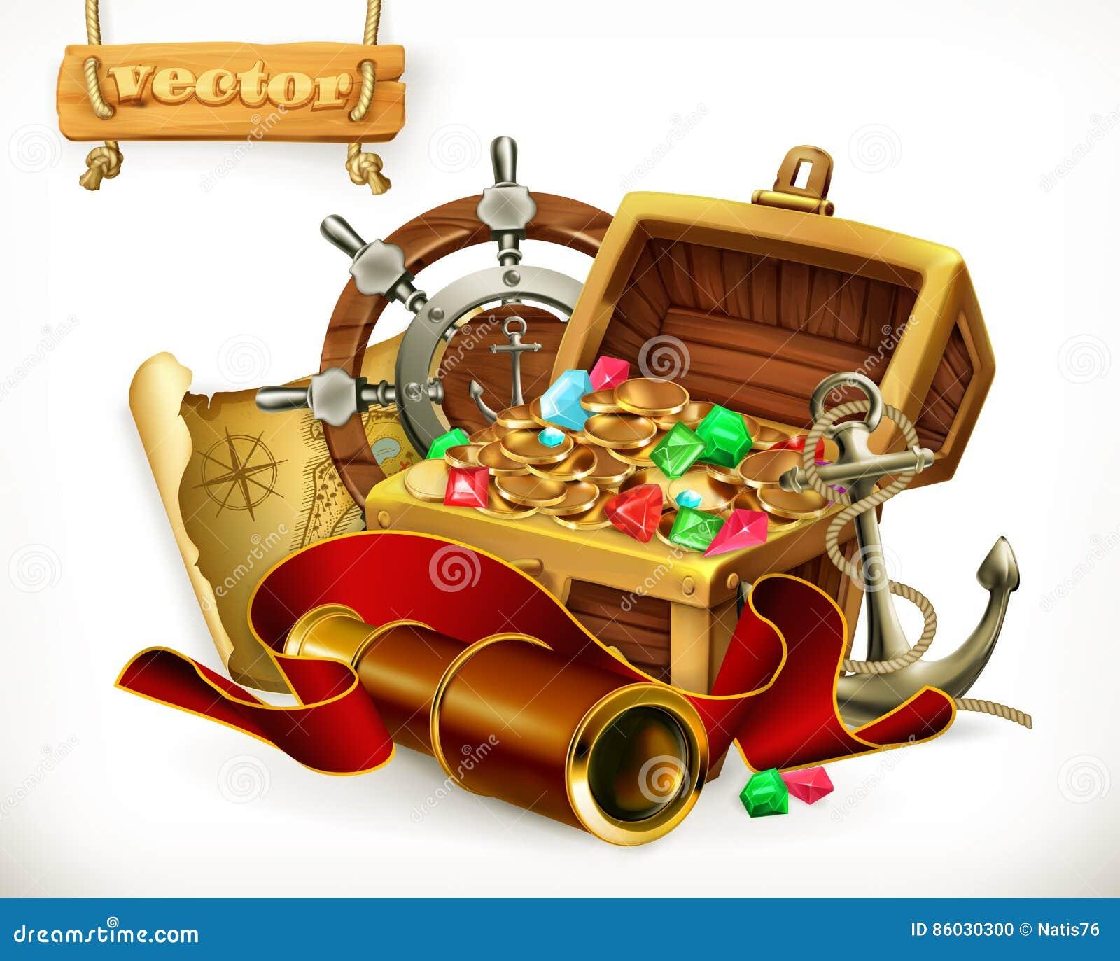 Alter Messingkompaß, der voll auf einer sehr alten Karte mit Schatzkasten der goldenen Münzen, des Schädels und des Messers liegt