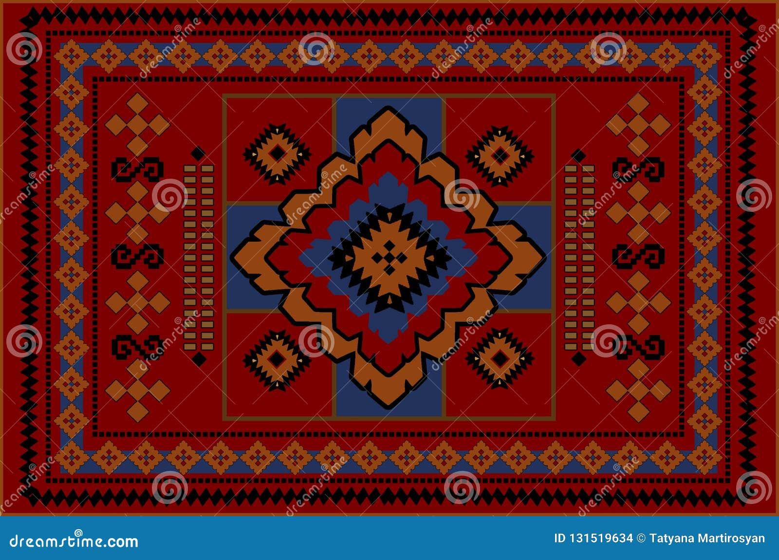 Alter Orientalischer Teppich Der Weinlese Mit Den Orangen Blauen