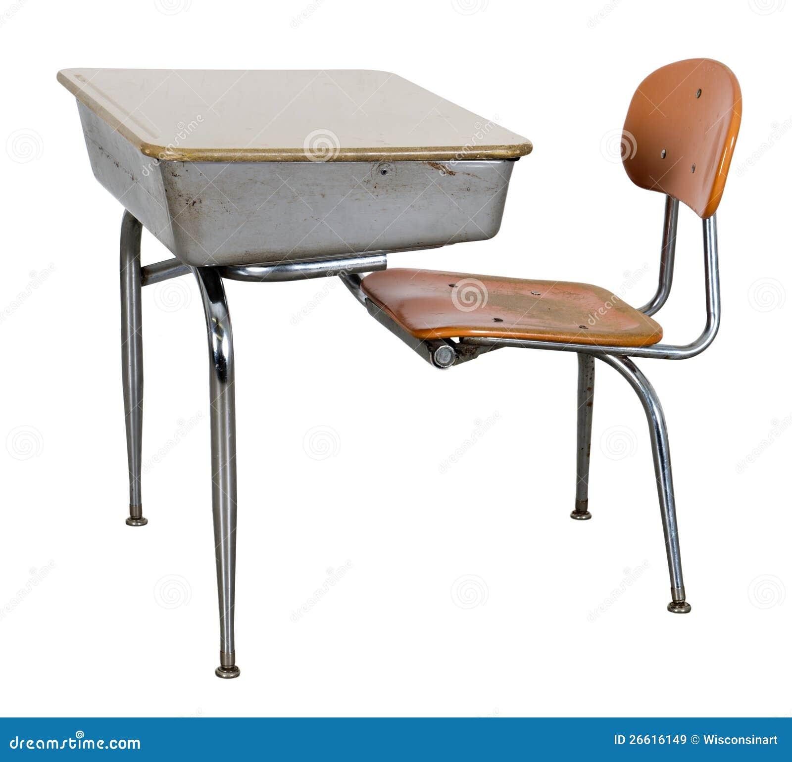 Alter Retro Schule Schreibtisch Getrennt Auf Weiß Stockbild Bild