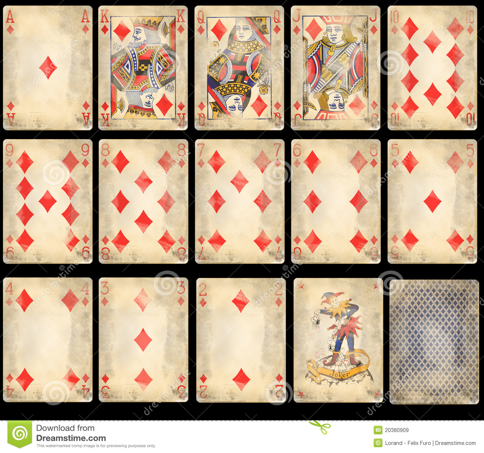 Alter Schürhaken-Spielkarten - Diamanten