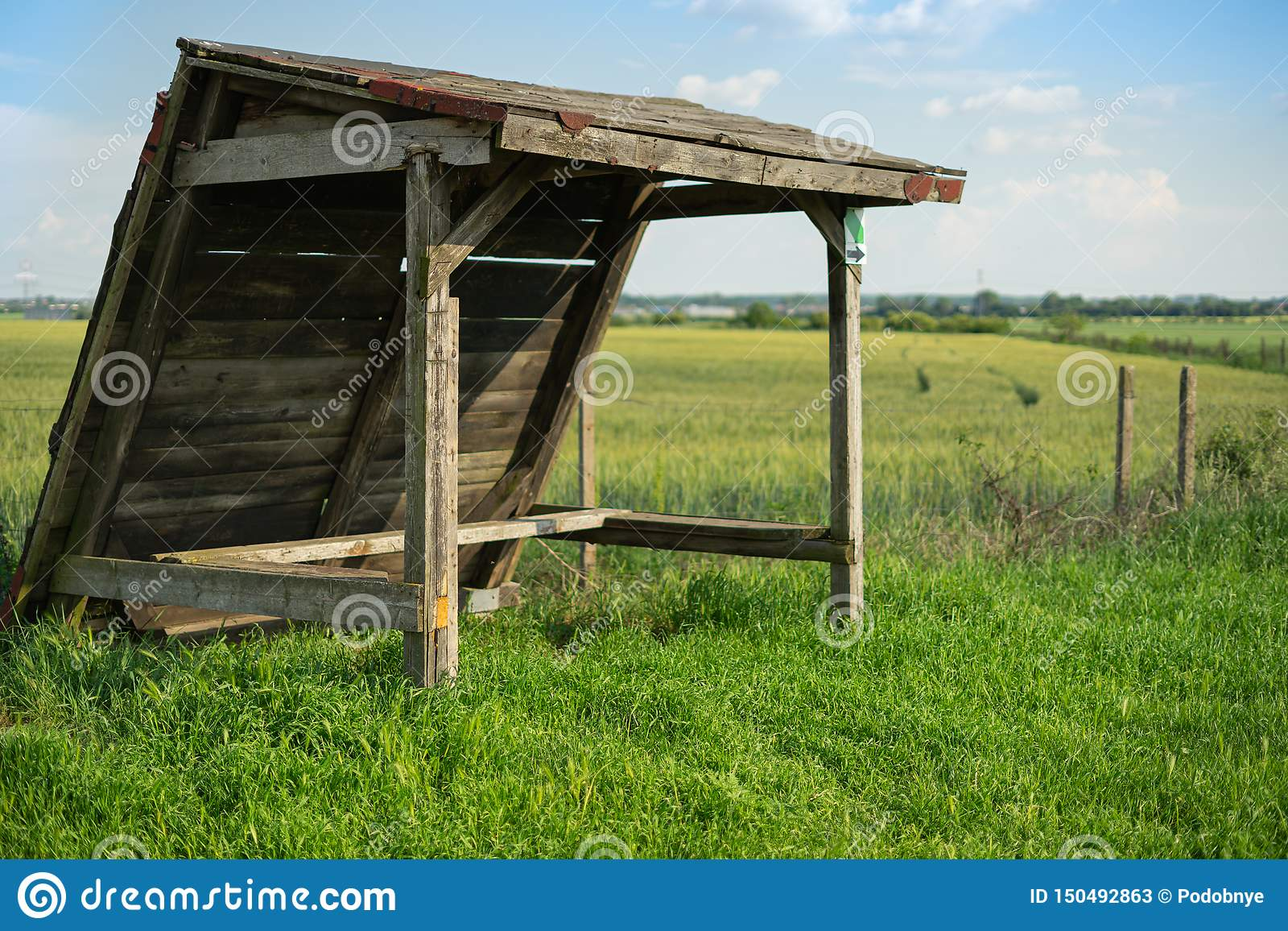 Alter Schutz auf dem grünen Weizengebiet