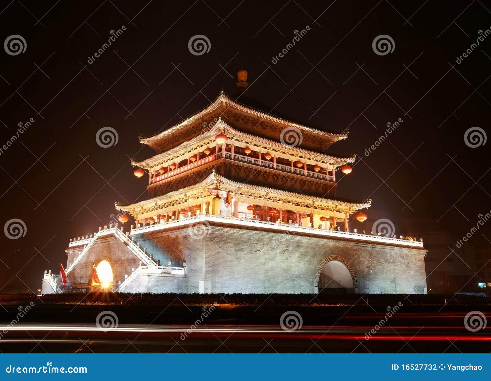 Alter Stadtgatterkontrollturm in Xi an des Porzellans