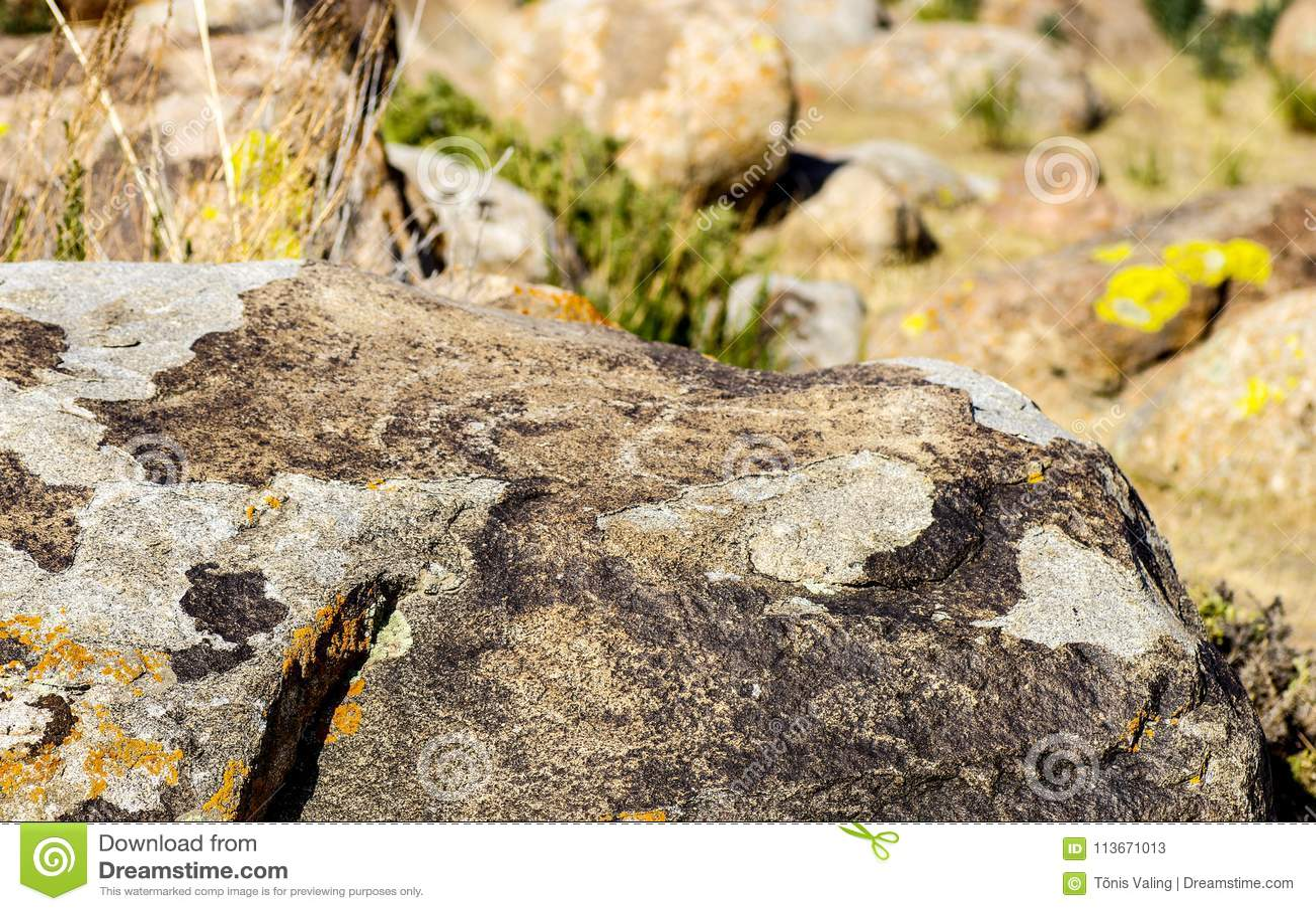 Alter Standort mit historischen Petroglyphen in Kirgisistan