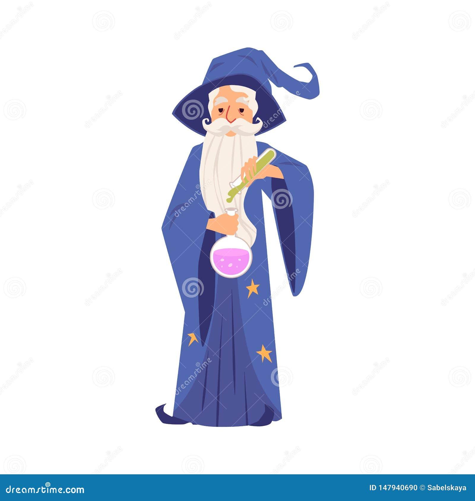 Alter Zauberermann in den Roben- und Hutständen, die Reagenzglas- und Flaschenkarikaturart halten