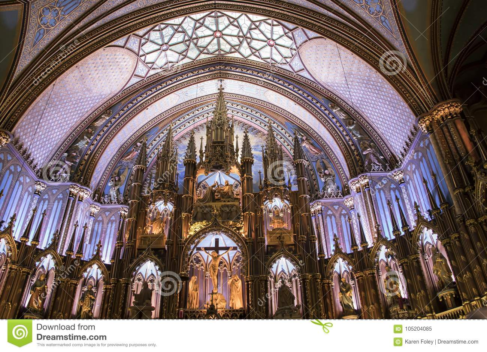 Altere la basílica interior de Notre Dame, Montreal, Quebec, Canadá I