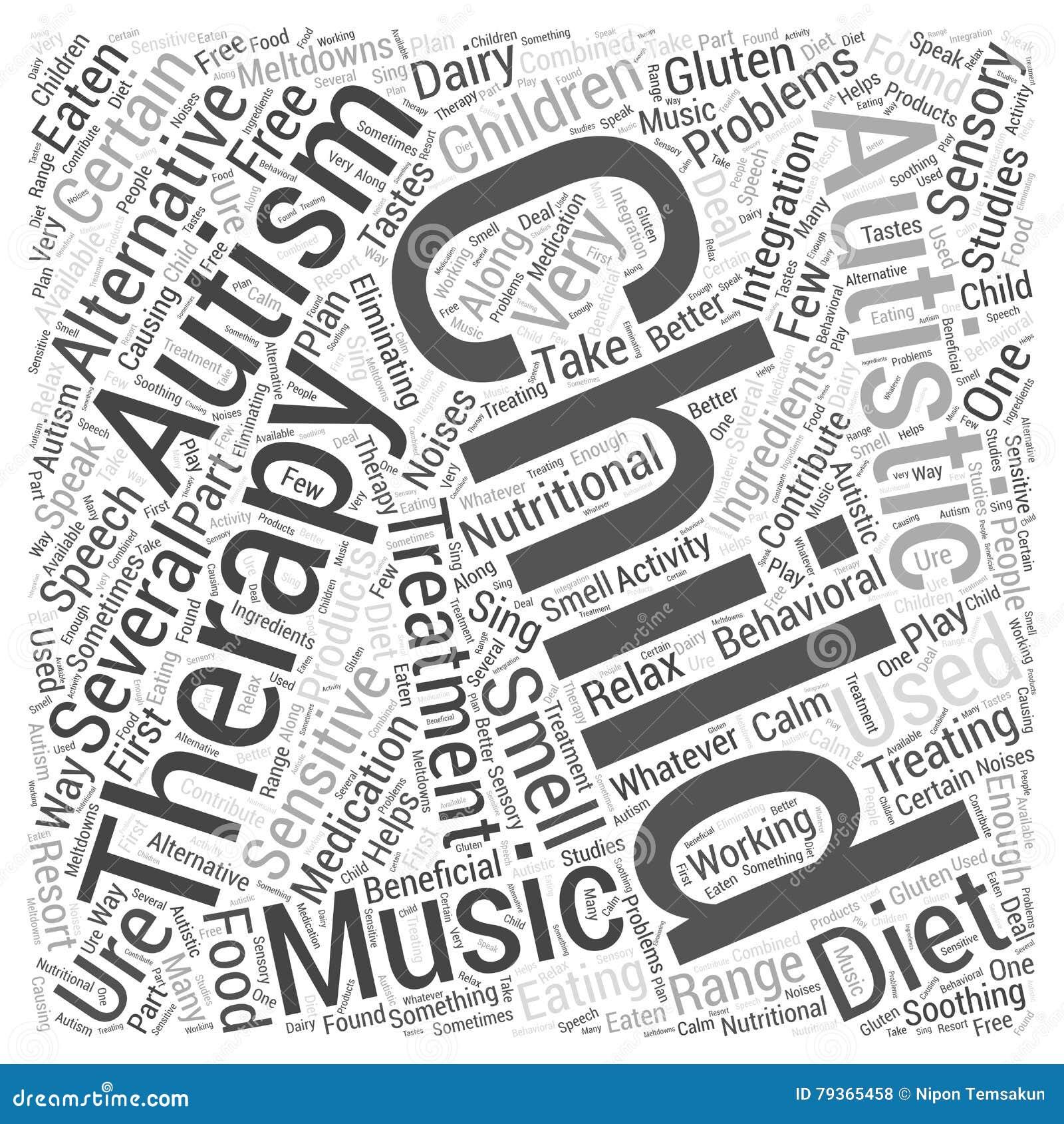 Alternative Behandlungen für Autismuswort bewölken Konzeptvektorhintergrund