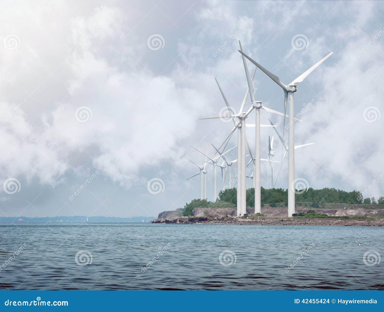 Alternative Energie-Windkraftanlagen auf Wasser