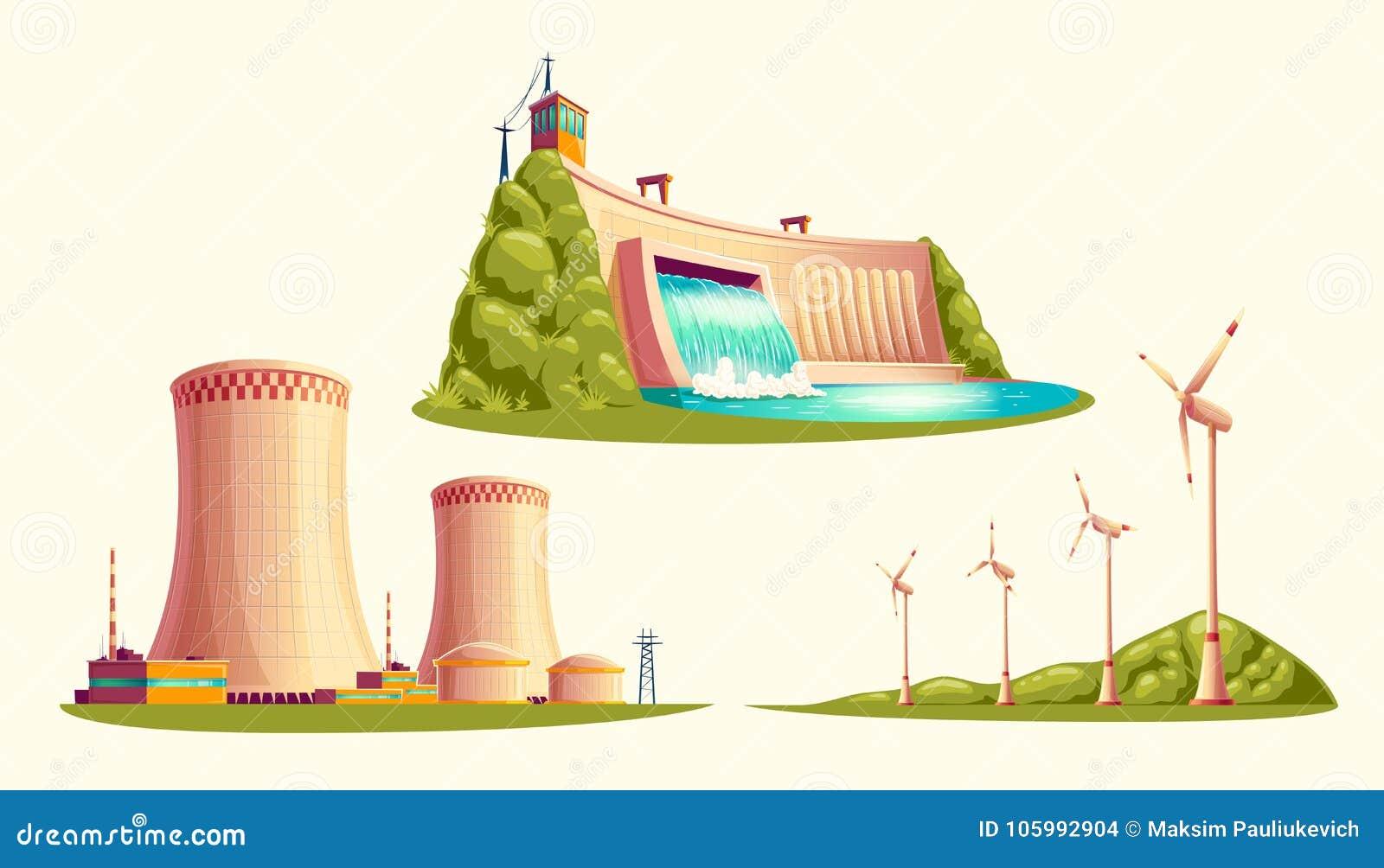 Alternative Energiequellen, Vektorkarikatursatz