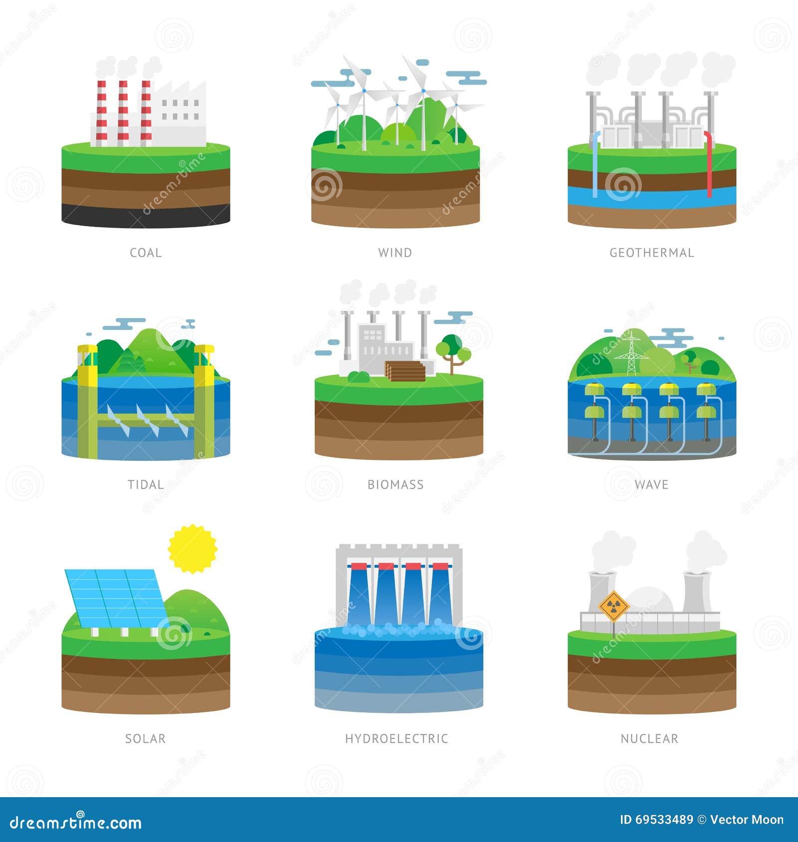 Alternative energy source electricity power resource eco set vector illustration.
