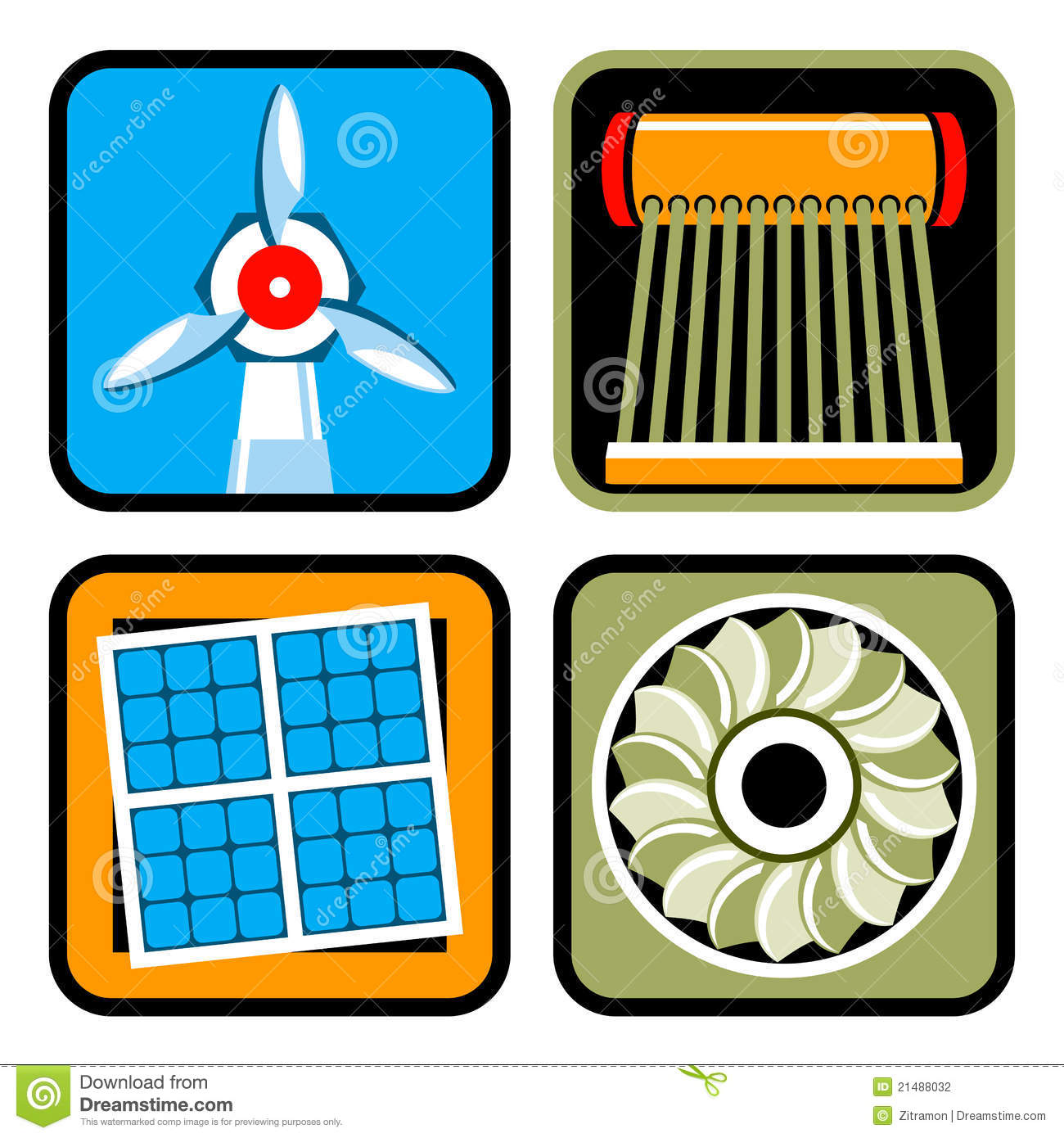 Icon set of alternative energy sources: wind power, solar energy and ...