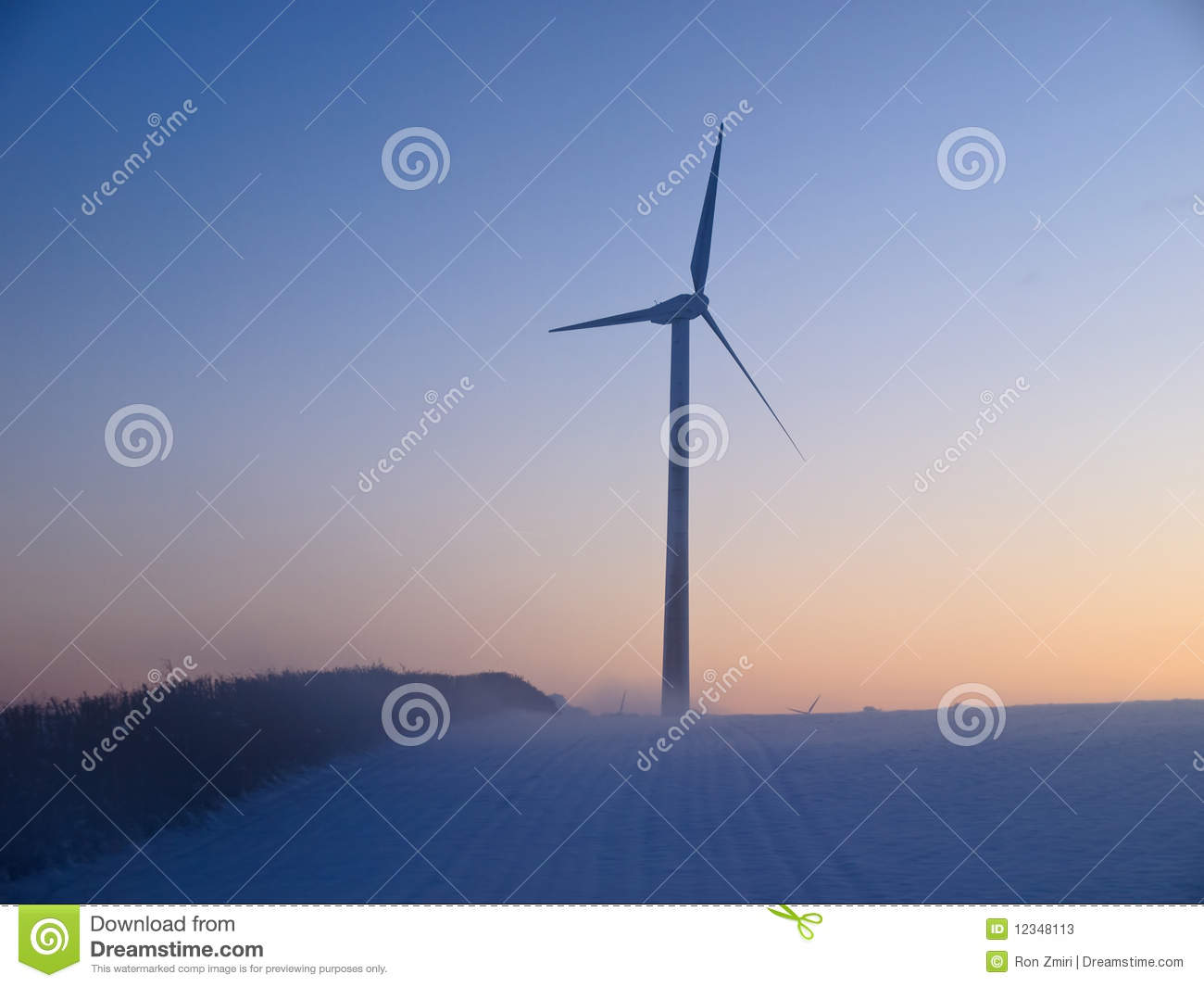 Alternative Energy Wind Mills In The Snow Stock Photos - Image ...