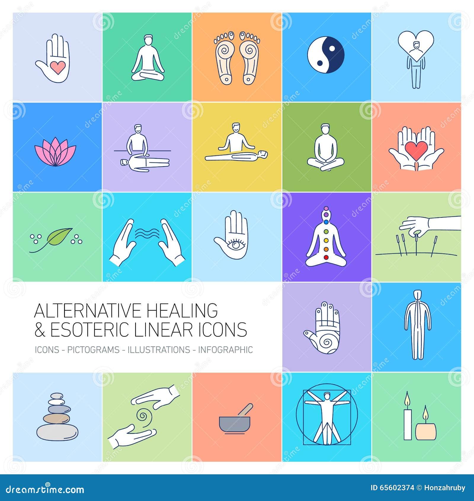 Alternative heilende und geheime lineare Ikonen eingestellt