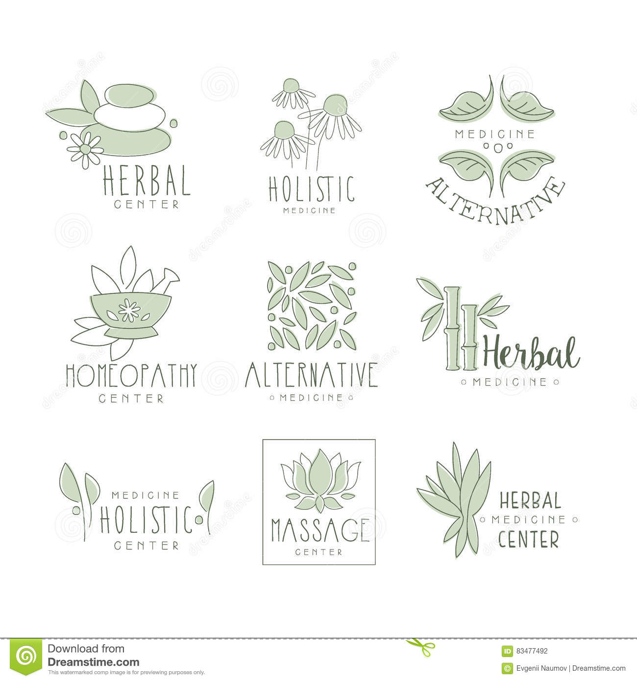 Center for holistic herbal therapy - Alternative Medicine Center With Oriental Herbal Treatment And Holistic Massage Procedures Collection Of Label Templates Stock