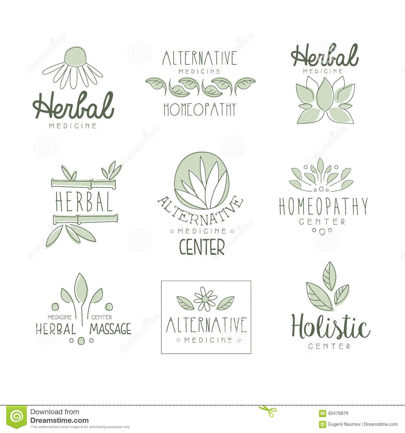 Center for holistic herbal therapy - Alternative Medicine Center With Oriental Herbal Treatment And Holistic Massage Procedures Set Of Label Templates Royalty