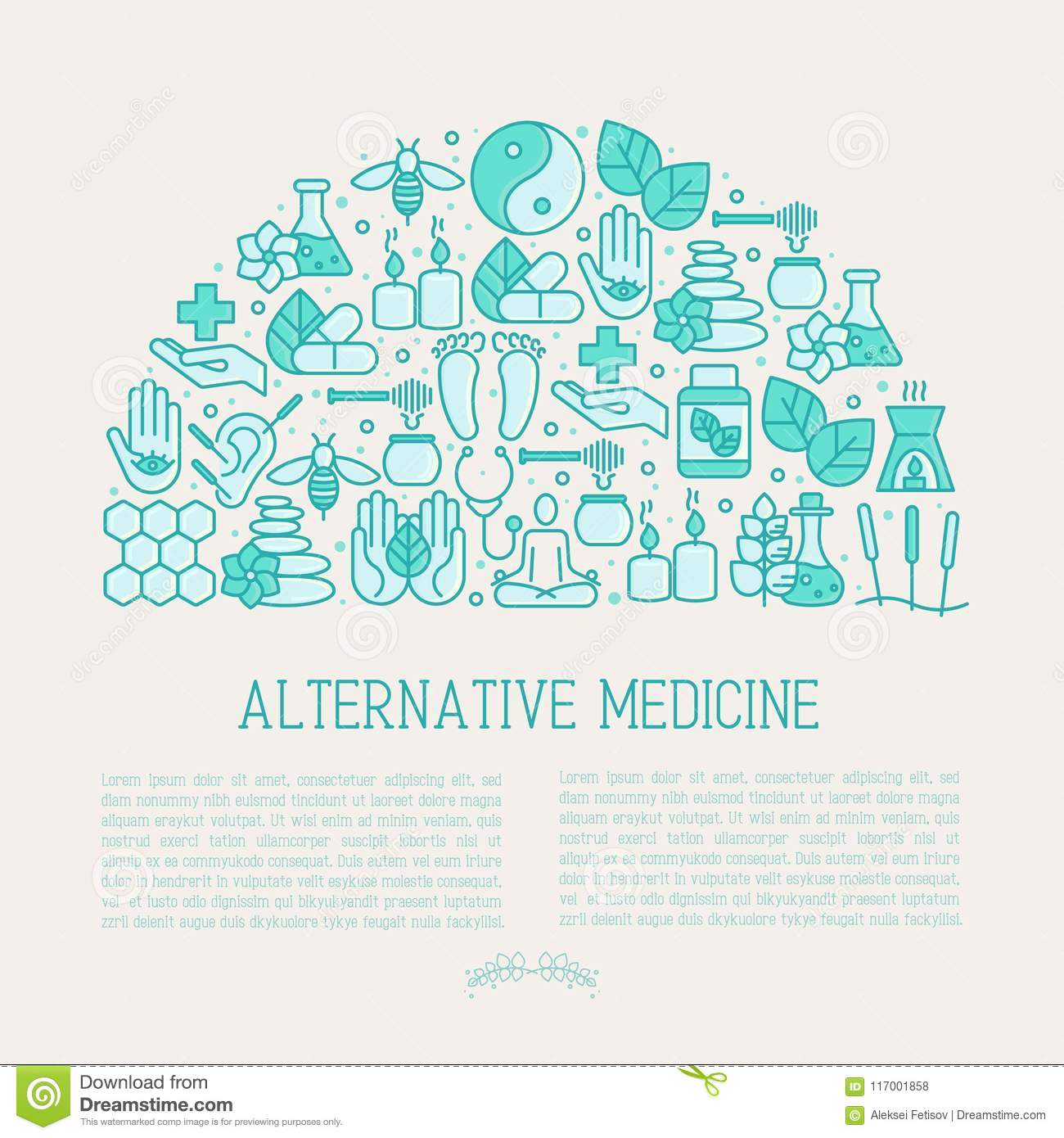 Alternative Medicine Concept In Half Circle Stock Vector Illustration Of Nature Health 117001858