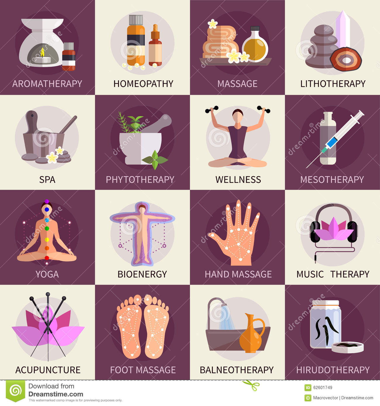 Acupuncture Herb Natural Therapy Icons Free