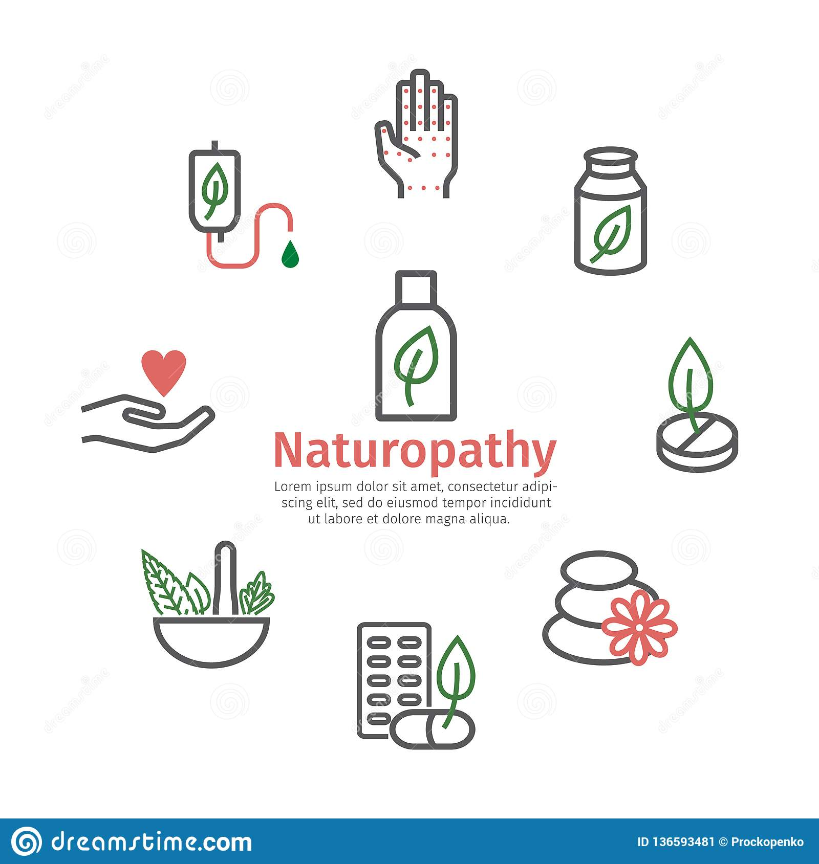 Alternative Medicine Banner Naturopathy Line Icons Vector Sign For Web Graphic Stock Vector Illustration Of Kapha Health 136593481