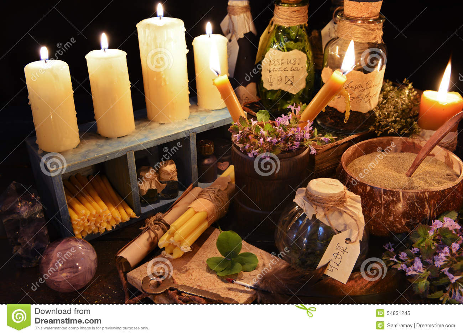 Alternative medicine theme ot witch table stock photo for Halloween medicine bottles